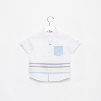Stripe Detail Shirt with Short Sleeves and Pocket Detail