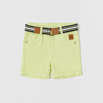 Solid Knee Length Shorts with Striped Belt