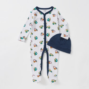 All-Over Print Long Sleeves Sleepsuit with Solid Cap