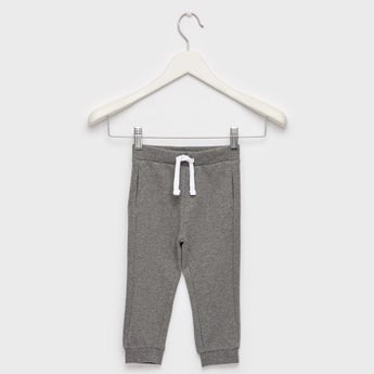 Textured Panelled Joggers with Pockets and Drawstring Closure