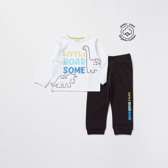 Printed Long Sleeves T-shirt and Jog Pants Set