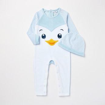 Penguin Print Long Sleeves Sleepsuit with Cap