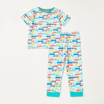 All-Over Cars Print Short Sleeves T-shirt and Pyjama Set