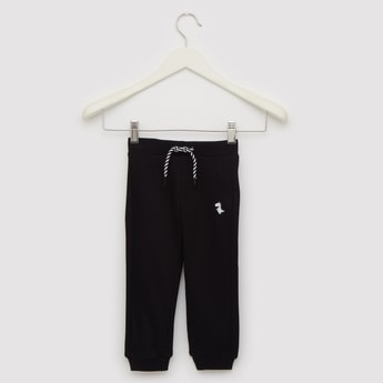 Ribbed Full Length Joggers with Cuffed Hem and Drawstring Closure