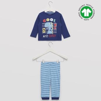 Dinosaur Print GOTS Organic Cotton T-shirt and Full Length Pyjama Set