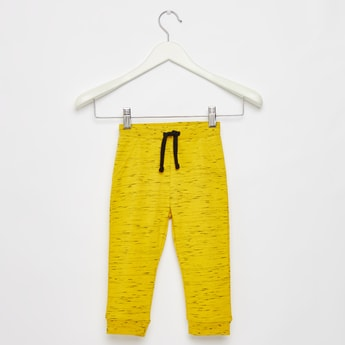 Full Length Textured Jog Pants with Pockets and Drawstring Closure