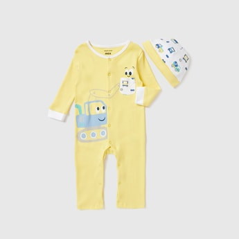 Truck Print Sleepsuit and Cap Set