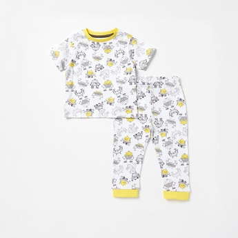 All-Over Print Short Sleeves T-shirt and Full Length Pyjama Set