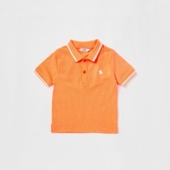 Solid Polo T-shirt with Piping Detail and Short Sleeves
