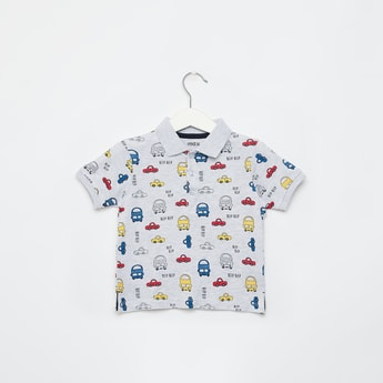 Vehicle Print Polo T-shirt with Short Sleeves