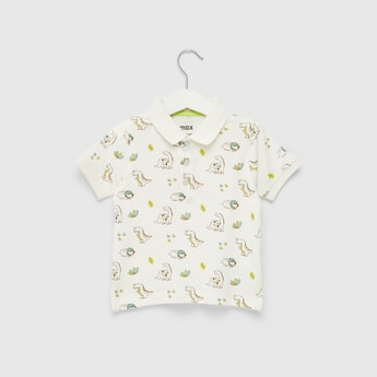 Dinosaur Print Polo T-shirt with Short Sleeves and Button Closure