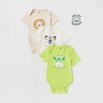 Set of 3 - Printed Bodysuit with Short Sleeves
