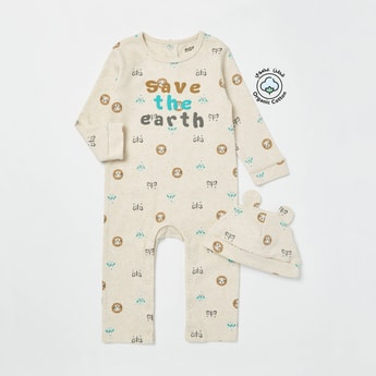 All-Over Print Long Sleeves Sleepsuit with Applique Detail Cap
