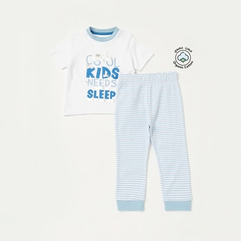 Graphic Print T-shirt and Striped Pyjama Set
