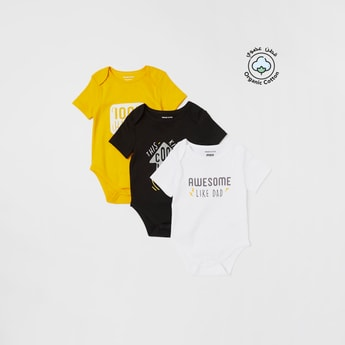 Set of 3 - Slogan Print Bodysuit with Round Neck and Short Sleeves