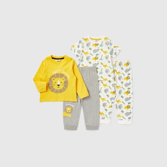 Printed Round Neck T-shirt and Pyjamas - Set of 2