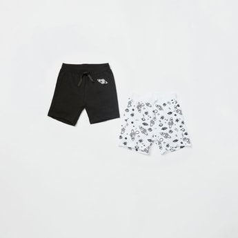 Set of 2 - Graphic Print Knit Shorts with Elasticised Waistband