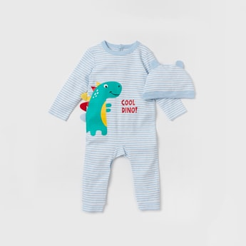 Dino Graphic Print Sleepsuit with Applique Detail Cap