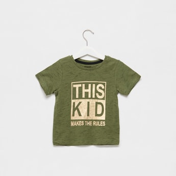 Typographic Print Injected T-shirt with Round Neck and Short Sleeves
