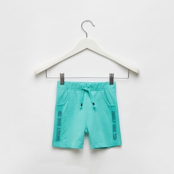 Typographic Print Pique Shorts with Drawstring and Pockets