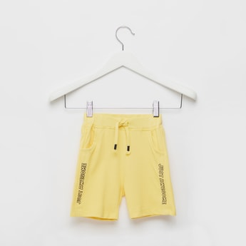 Text Print Shorts with Pocket Detail and Drawstring Closure