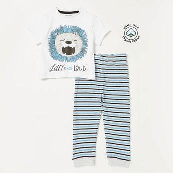 Graphic Print Short Sleeves T-shirt and Striped Pyjama Set