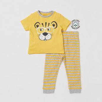Graphic Tiger Print Organic T-shirt and Striped Pyjama Set