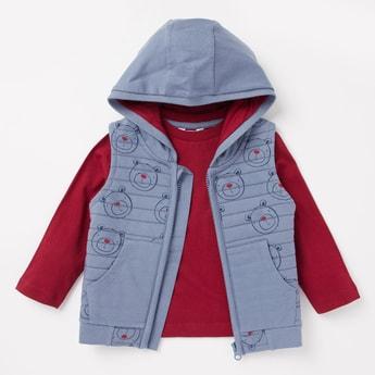Bear Print Hooded Gilet and Long Sleeves T-shirt Set