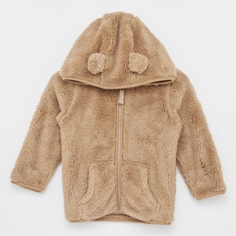 Plush Detail Jacket with Hood and Zip Closure