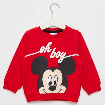 Mickey Mouse Graphic Print Sweatshirt with Round Neck and Long Sleeves