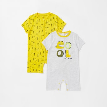 Set of 2 - Dino Print Romper with Round Neck and Short Sleeves
