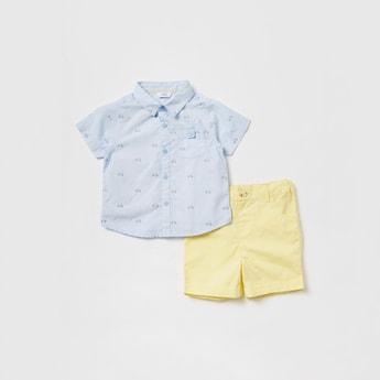 Printed Short Sleeves Shirt and Shorts Set