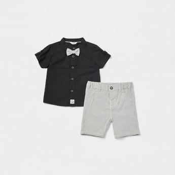 Solid Mandarin Collar Shirt with Striped Shorts Set