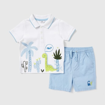 Printed Polo T-shirt and Solid Shorts Set