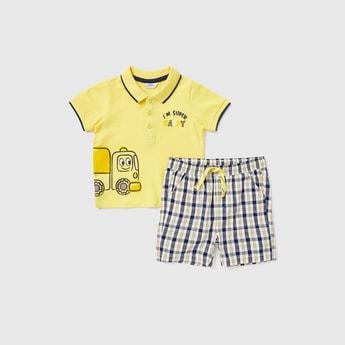 Printed Polo T-shirt and Checked Shorts Set