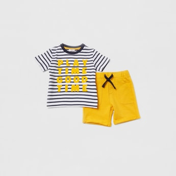 Striped Round Neck T-shirt and Solid Shorts Set