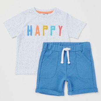 Typographic Print Round Neck T-shirt and Shorts Set