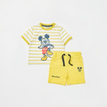 Mickey Mouse Graphic Print Short Sleeves T-shirt with Shorts Set