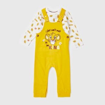 All-Over Lion King Print T-shirt and Dungaree Set