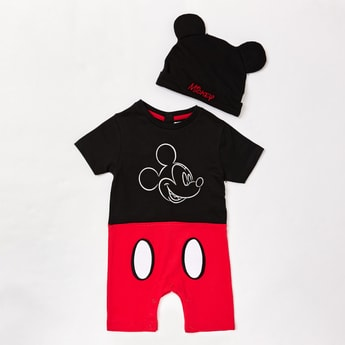 Mickey Mouse Print Romper with Cap
