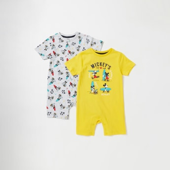 Set of 2 - Mickey Mouse Print Romper with Short Sleeves and Round Neck