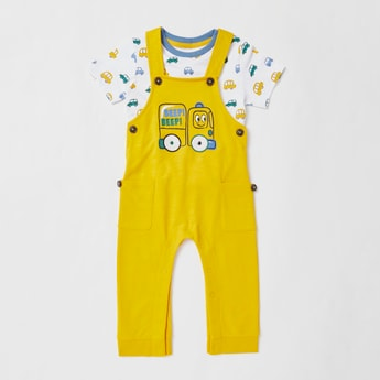 All-Over Car Printed T-shirt and Dungarees Set