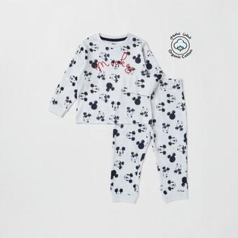 Set of 2 - All-Over Mickey Mouse Print T-shirt and Pyjamas
