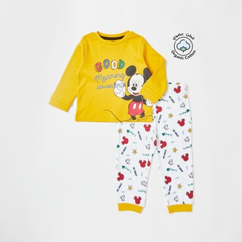 Mickey Mouse Print T-shirt and Jogger Set