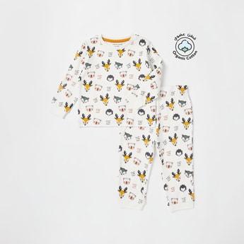 All-Over Print Sweatshirt and Jog Pants Set