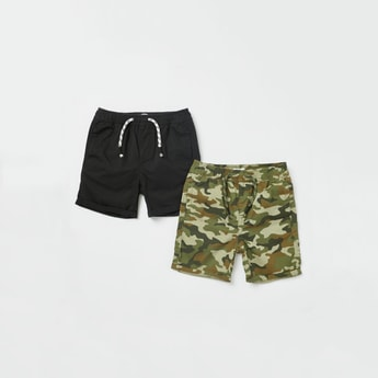 Set of 2 - Assorted Shorts with Pocket Detail and Drawstring Closure