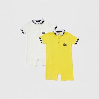 Set of 2 - Solid Romper with Short Sleeves and Press Button Closure