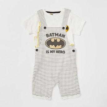 Batman Print Round Neck T-shirt and Dungarees Set