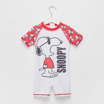 Snoopy Graphic Print Swimsuit with Raglan Sleeves and Zip Closure