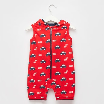 Cars Print Sleeveless Romper with Hood